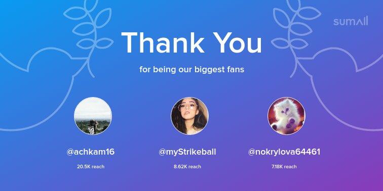 Our biggest fans this week: @achkam16, @myStrikeball, @nokrylova64461. Thank you! via https://t.co/XYrVWdXplS https://t.co/krioRcq3vk