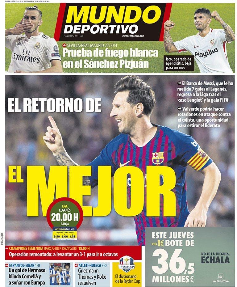 """Portada @mundodeportivo :""""El retorno de el mejor"""" #PortadaMD https://t.co/dsYxtW8fIg"""