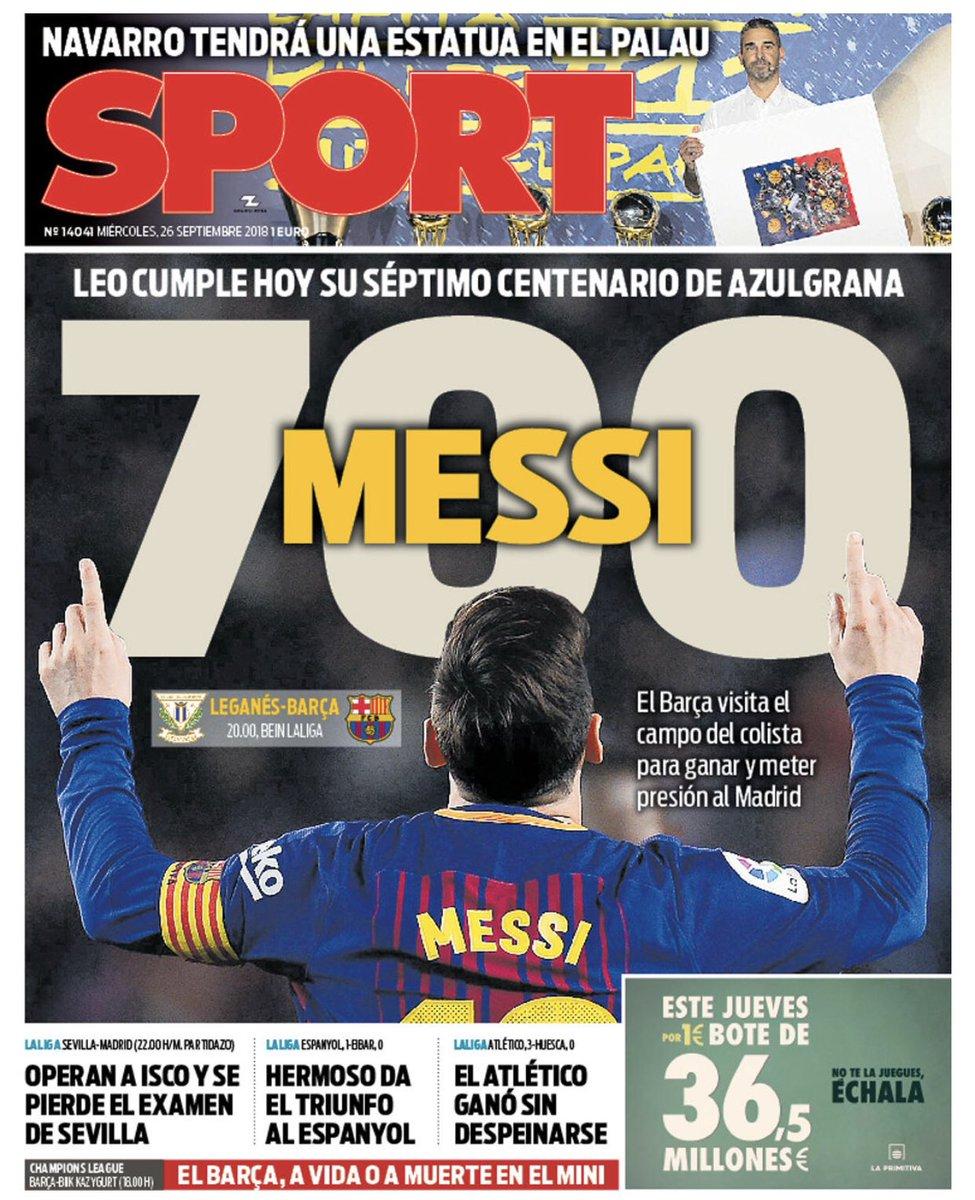 "Portada @sport: ""MESSI 700"" #Portadas https://t.co/MvD48t42RZ"