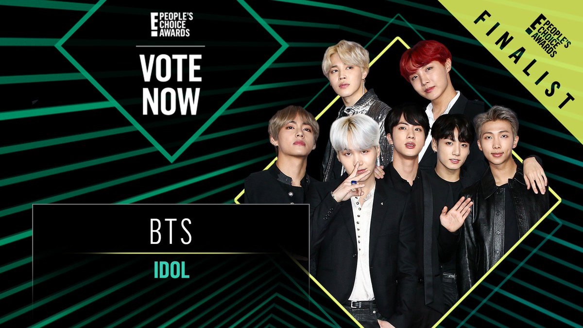 RT @peopleschoice: Vote for BTS's Idol by retweeting this post: #Idol #BTS #TheMusicVideo #PCAs https://t.co/hA8LQ3yNcn