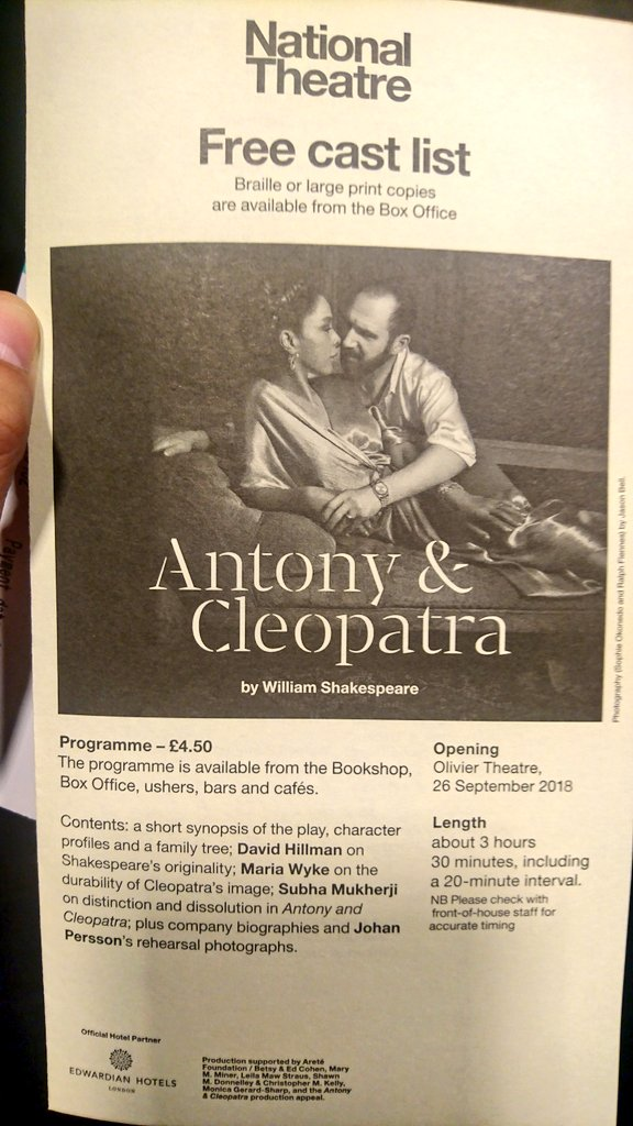 test Twitter Media - 3 hours and a half of Shakespeare and a distinctive cast. The drums and percussions are warming up. #AntonyandCleopatra #OlivierTheatre #Shakespeare #RalphFiennes #SophieOkonedo https://t.co/RhUvyRuU5J
