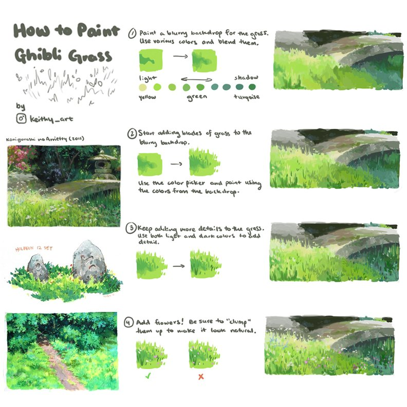 Right, as we missed #SkillUpSunday while we were away, today is #SkillUpTuesday! Our first feature tutorial is on PAINTING GRASS in the GHIBLI STYLE by the very excellent STARFUR12 on Instagram (No Twitter account I could find)! #gamedev #animationdev #conceptart #digitalpainting https://t.co/blJRDAa5xj