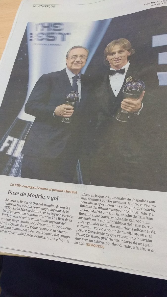 "test Twitter Media - Leyendo el Enfoque de @abc_es: ""Pase de Modric, y gol"" #TheBest https://t.co/NKvYl1BZyO"