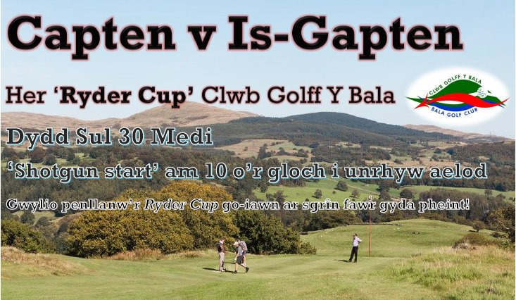 test Twitter Media - Gornest #RyderCup Clwb Golff y Bala! Captain @IoloGwyn & @aykroyd03 v Vice Captain #IwanJones & #LizMorley 🗓️30 Medi ⏰10am shotgun start https://t.co/tTdQPKYmmj