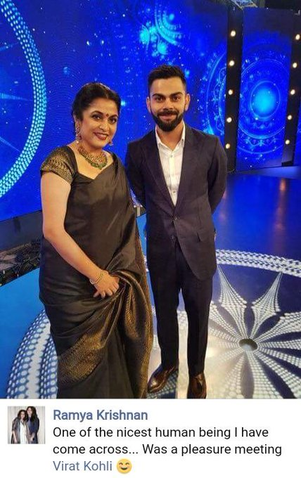 Ramya Krishnan & viratkoli stunning In black..... Indian pride Advance happy birthday mam...
