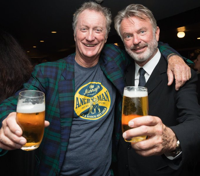 Happy Birthday New Zealand actor Sam Neill (September 14, 1947- ) sharing a pint with Australian actor Bryan Brown