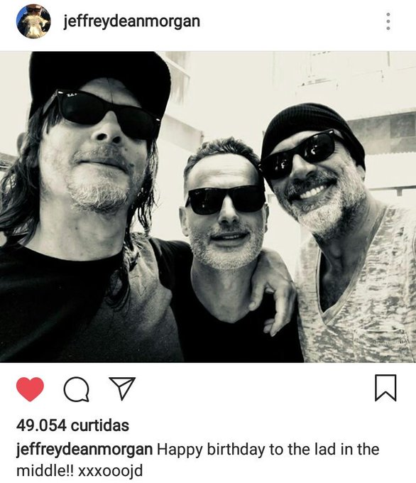 | Jeffrey posted this pic to wish Andrew Lincoln a happy birthday.