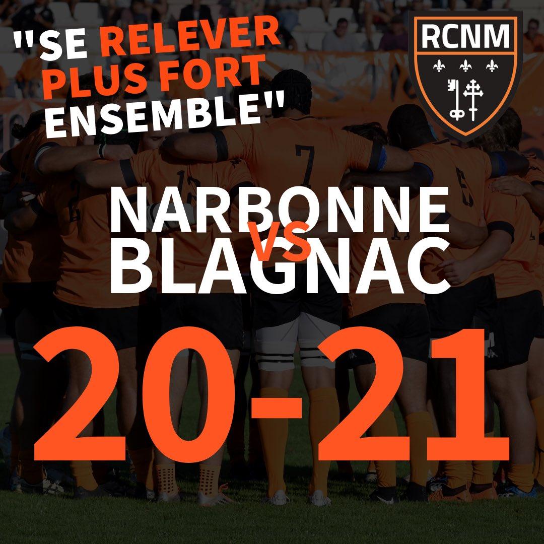 #RCNMBR   @BlagnacRugby  Défaite de nos joueurs 20-21 !!! Prochain rendez-vous à...