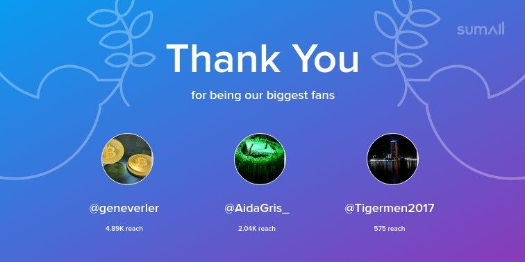 Our biggest fans this week: @geneverler, @AidaGris_, @Tigermen2017. Thank you! via https://t.co/XYrVWdXplS https://t.co/czBX676yxJ