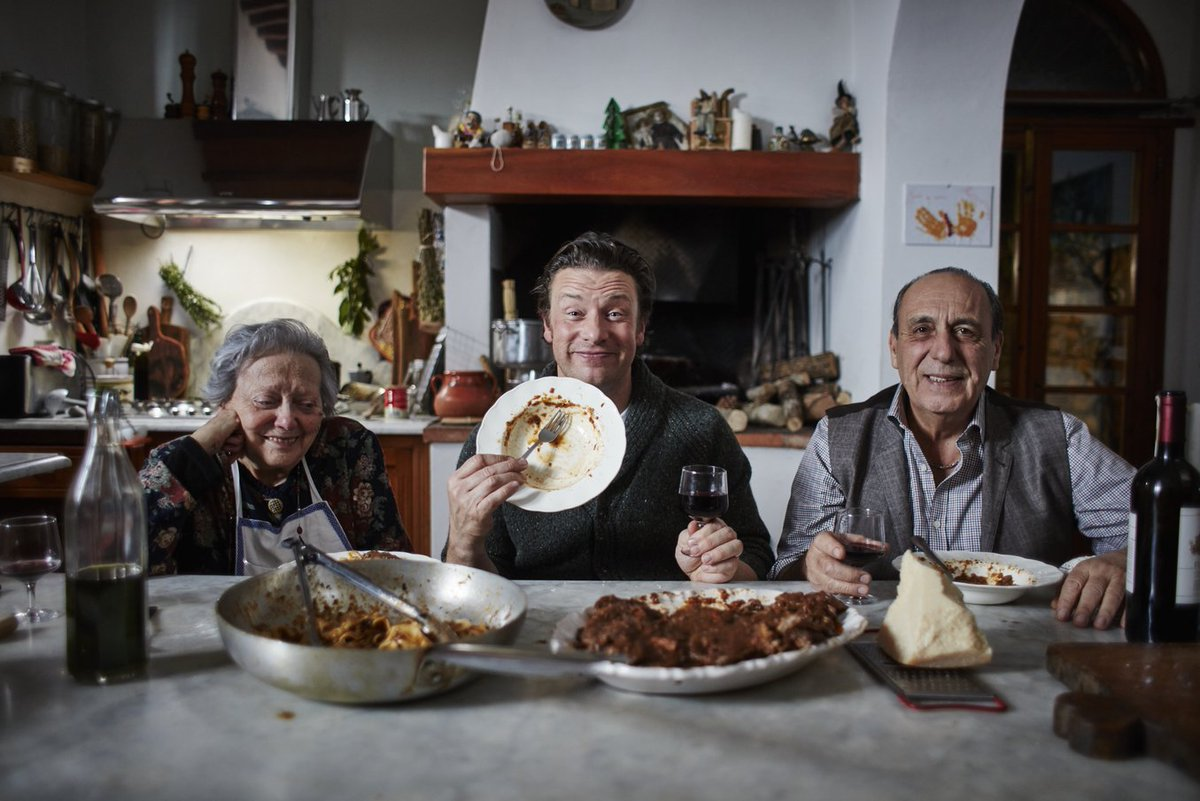 Two men and a Nonna. That's #JamieCooksItaly!   We're back on @Channel4 in 5 MINUTES. https://t.co/cS3Hm0bXa7