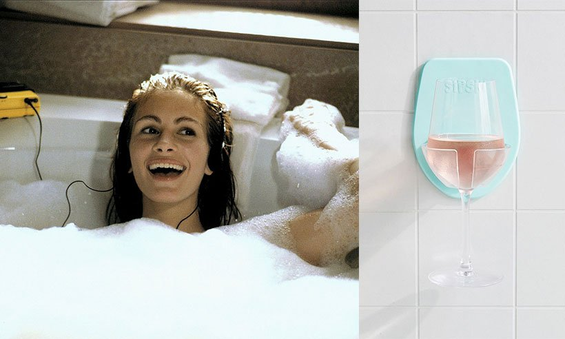 This bath wine glass holder has literally sorted our Saturday night