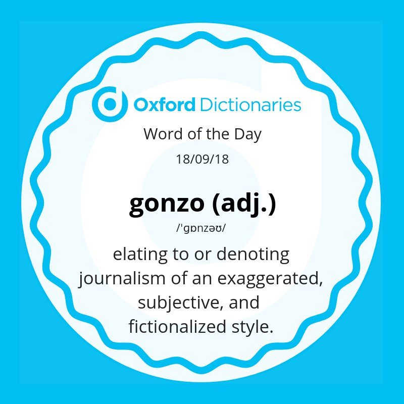 test Twitter Media - Word of the Day: gonzo - relating to or denoting journalism of an exaggerated, subjective, and fictionalized style. https://t.co/MeDiIszfm3 https://t.co/ZeqNiwzJk3