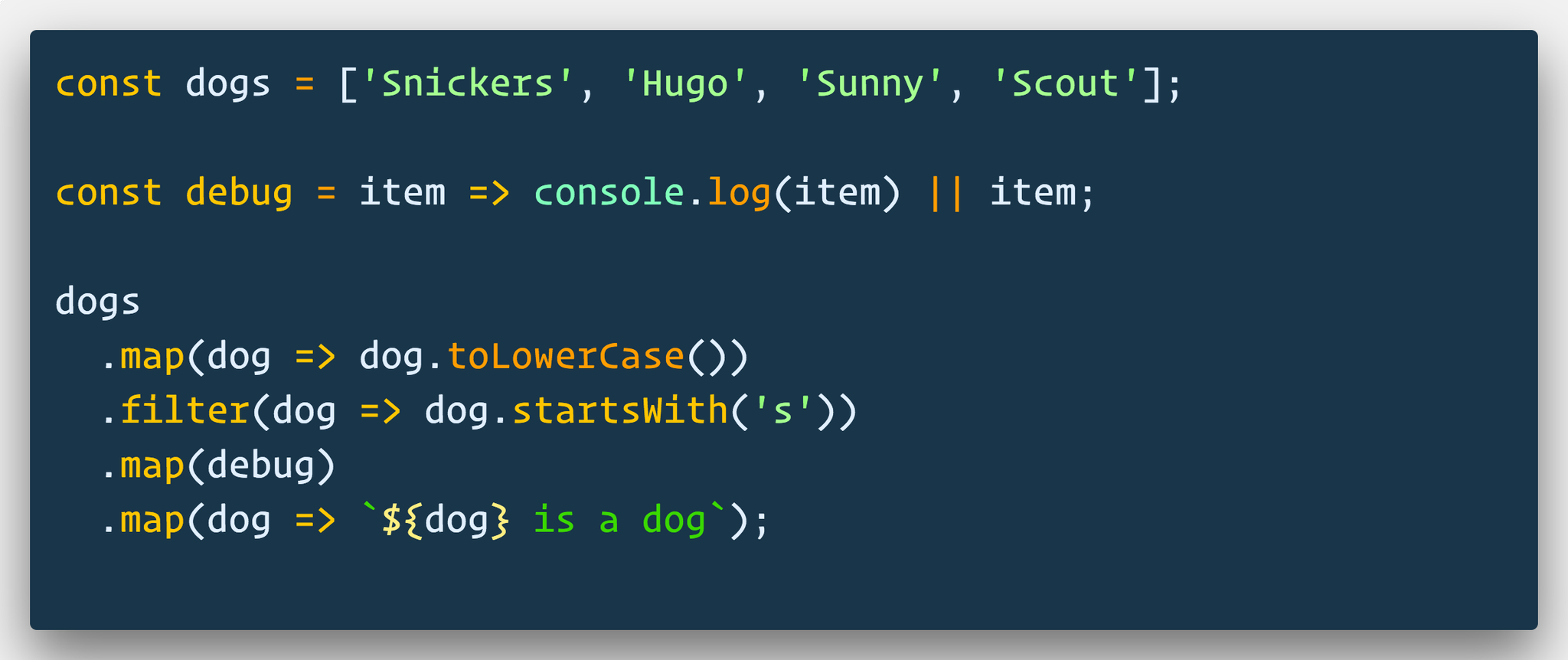 🔥 If you are trying to debug something in the middle of chaining array methods, just map over it, console.log, and return it.   Since console.log returns nothing, it will just pass the entire array through.   You can even make a handle little debug function 🐛 https://t.co/HCtLh4QYm6