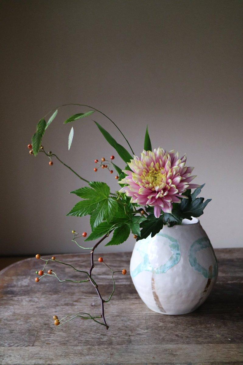RT @hana_narai: Satoko Sai + Tomoko Kurahara ( @satokosai )さんの作品に野茨、菊、木苺、西洋小判草をいけました。...
