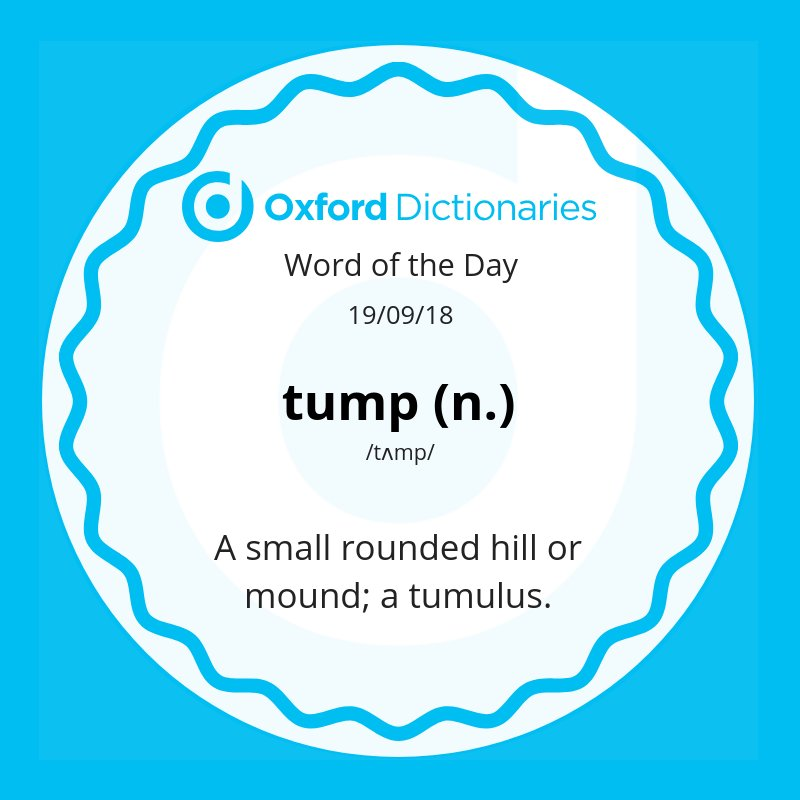 test Twitter Media - Word of the Day: tump - a small rounded hill or mound; a tumulus.  https://t.co/1d76MnZq5j https://t.co/QI1Yph4051