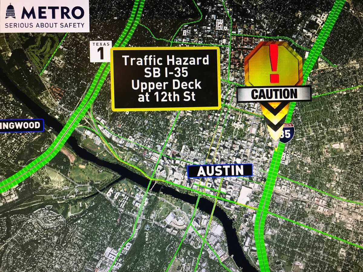 May be a good day to keep left for the lower deck. Hazard reported on the SB I-35 upper deck at 12th #ATXtraffic https://t.co/P8URCP94tH