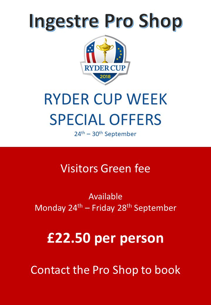 test Twitter Media - Come and join us during #rydercup week with our Ryder Cup Green Fee Special.  Contact the Ingestre Park Pro Shop to book on 01889 270304  #golf #rydercup #teameurope @MidlandsGolfer @staffsgolf @ChaseGrammar @teeofftimes @BRSGolf @IPGCourseupdate @RyderCupEurope @rydercup https://t.co/AH6yLvJBmC