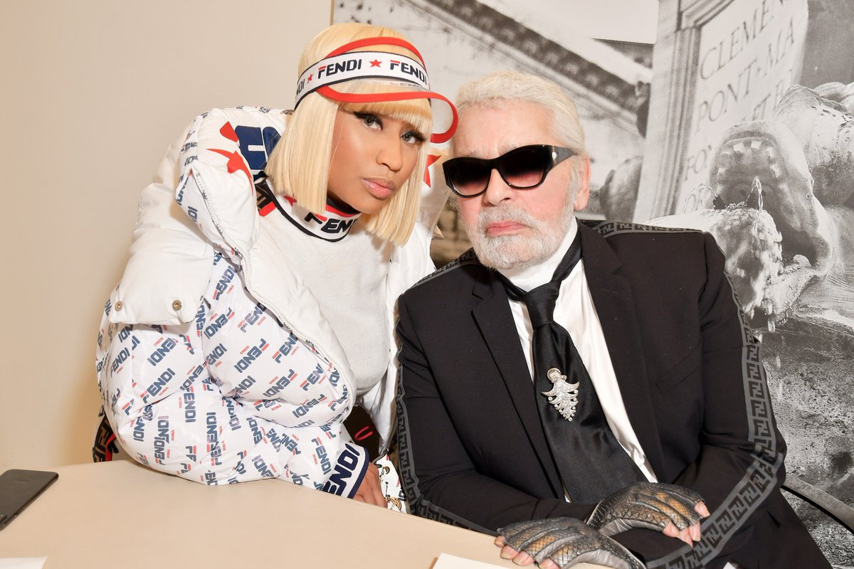 RT @Fendi: .@NICKIMINAJ with Creative Director Karl Lagerfeld at the #FendiSS19 Fashion Show during #MFW. https://t.co/laSbv7kzkW