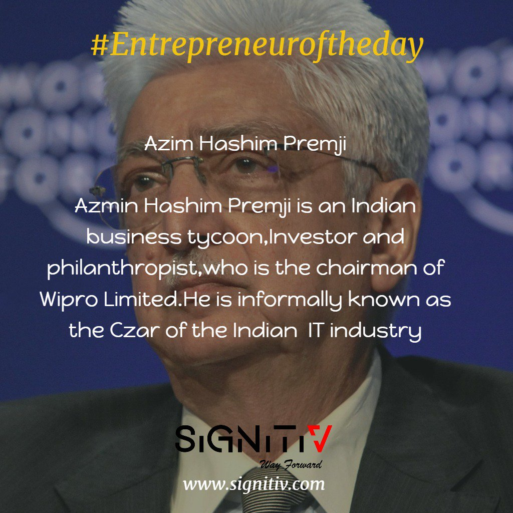 test Twitter Media - #Entrepreneuroftheday  Azim Hashim Premji is an Indian business tycoon, investor, and philanthropist, who is the chairman of Wipro Limited. He is informally known as the Czar of the Indian IT Industry. #entrepreneurship #entrepreneur #startup #business #chennai https://t.co/hwXFzaQVNr