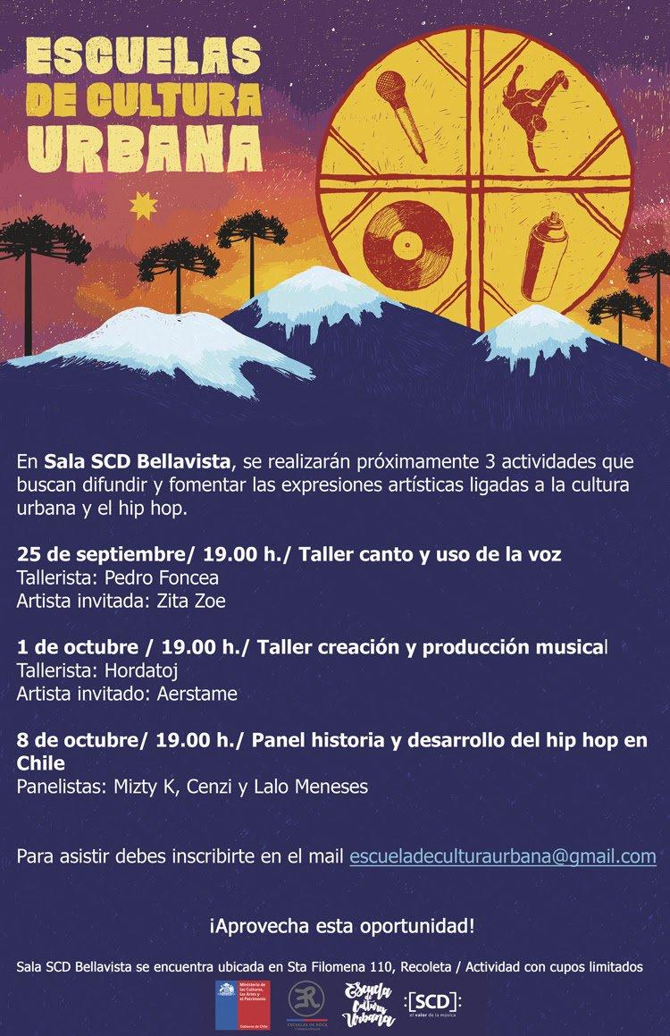 test Twitter Media - ¡La cultura urbana se toman Sala #SCDBellavista!  El próximo 25 de septiembre, el 1 y 8 de octubre Pedro Foncea, Hardatoj y Mitzy K, entre otros, serán los encargados de los talleres que buscan fomentar las expresiones artísticas ligadas a esta cultura en Chile. https://t.co/Uk89OpV7uk