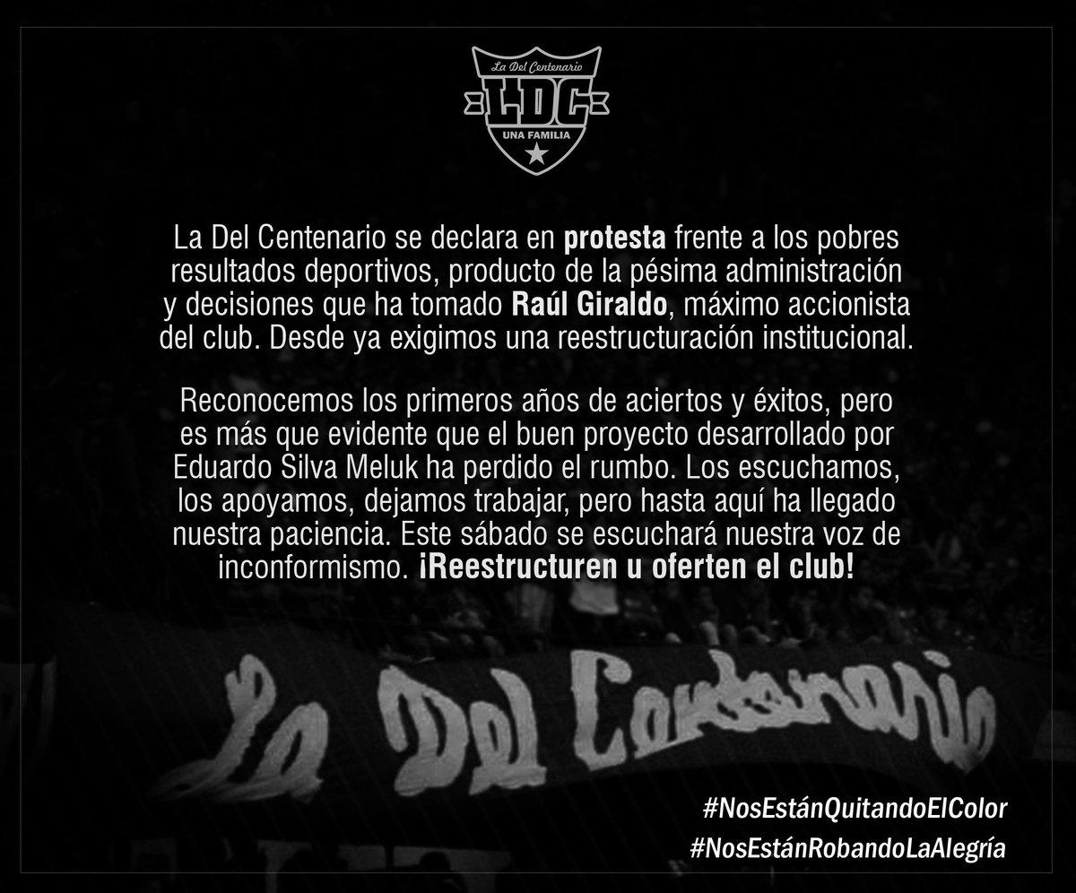 RT @LDCentenario: Comunicado LDC sobre la difícil situación del @DIM_Oficial y la gestión de Raúl Giraldo. https://t.co/S1kmWMUiSE