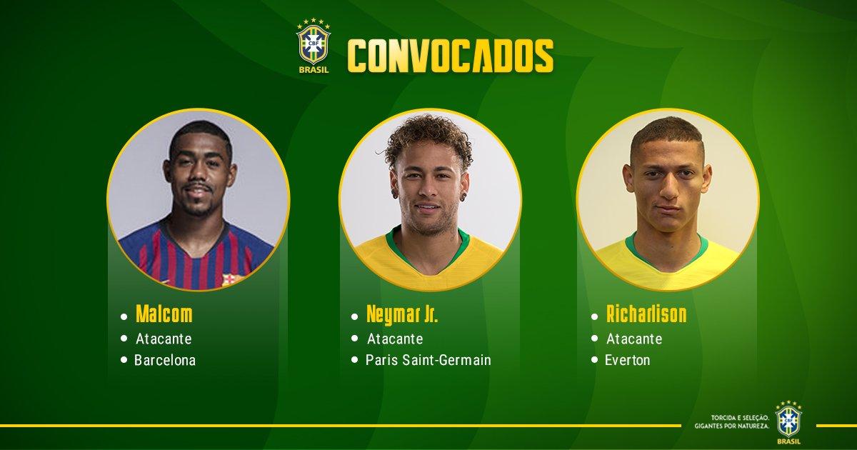 RT @CBF_Futebol: CONVOCAÇÃO DA SELEÇÃO  Malcom, Neymar Jr. e Rcharlison fecham a lista! #GigantesPorNatureza https://t.co/K2h5JVCWWq