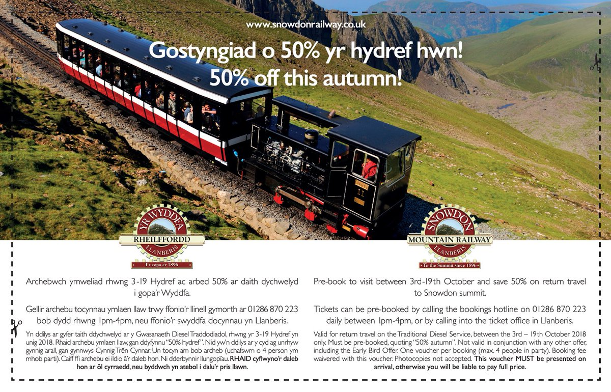 test Twitter Media - OCTOBER DISCOUNT FOR LOCALS Gostyngiad o 50% yr hydref hwn! 50% off this autumn! Get the Caernarfon & Denbigh Herald on Wednesday 26th September - there's a voucher for 50% off our diesel service!* *Conditions apply, see voucher for full details. @CDHerald #Snowdon #Llanberis https://t.co/tGPxOQVBWX