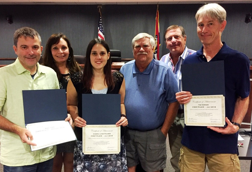 test Twitter Media - At Tuesday's meeting, @parkvillemo Board of Aldermen recognized summer winners of the FOPNS photo contest. Left to right: Mike Day, Mayor Johnston, Cheryl Lynn Palmer, Brent Frazee, Alderman Marc Sportsman and Tim Verner. Congratulations! https://t.co/jHFdreHcpu