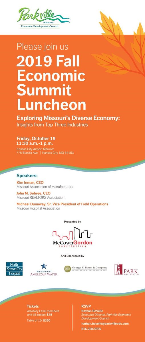 test Twitter Media - The @ParkvilleEDC Fall Economic Summit Luncheon Friday 19 Oct at the KC Airport @Marriott presented by @McCownGordon. Sponsored by @NKCHospital, @moamwater, @ParkUniversity, and George K Baum & Company. With speakers from @bemamstrong, @MOREALTORS, & @MOHospitals. https://t.co/5tJJks48k4