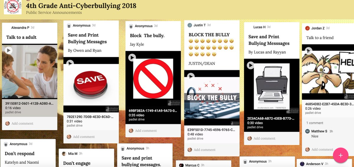 test Twitter Media - Awesome work made by 4th Grade who made PSA's for Anti-Cyberbullying in Digital Citizenship and added it the grade level @padlet. #d30learns https://t.co/SvpsdH1VDX