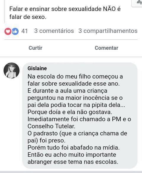 RT @QuebrandoOTabu: Desconfie de quem não se interessa que crianças saibam identificar e denunciar um estupro. https://t.co/3LiJC68NSq