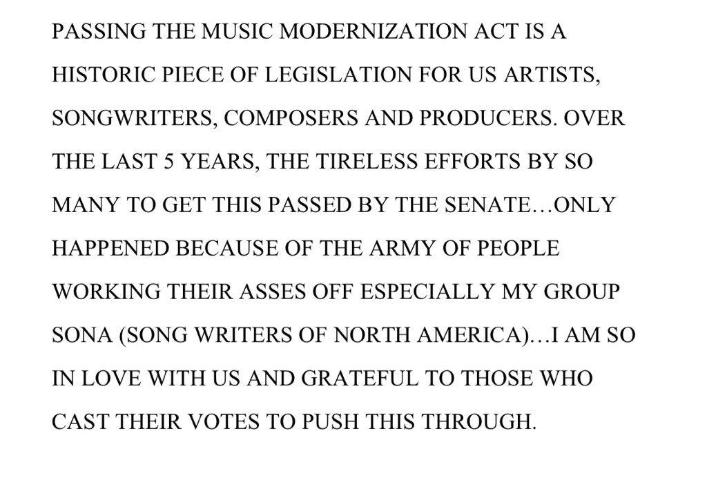 MY STATEMENT ON THE MUSIC MODERNIZATION ACT PASSING IN THE SENATE @wearesonaLA https://t.co/hSTtJiiEIE