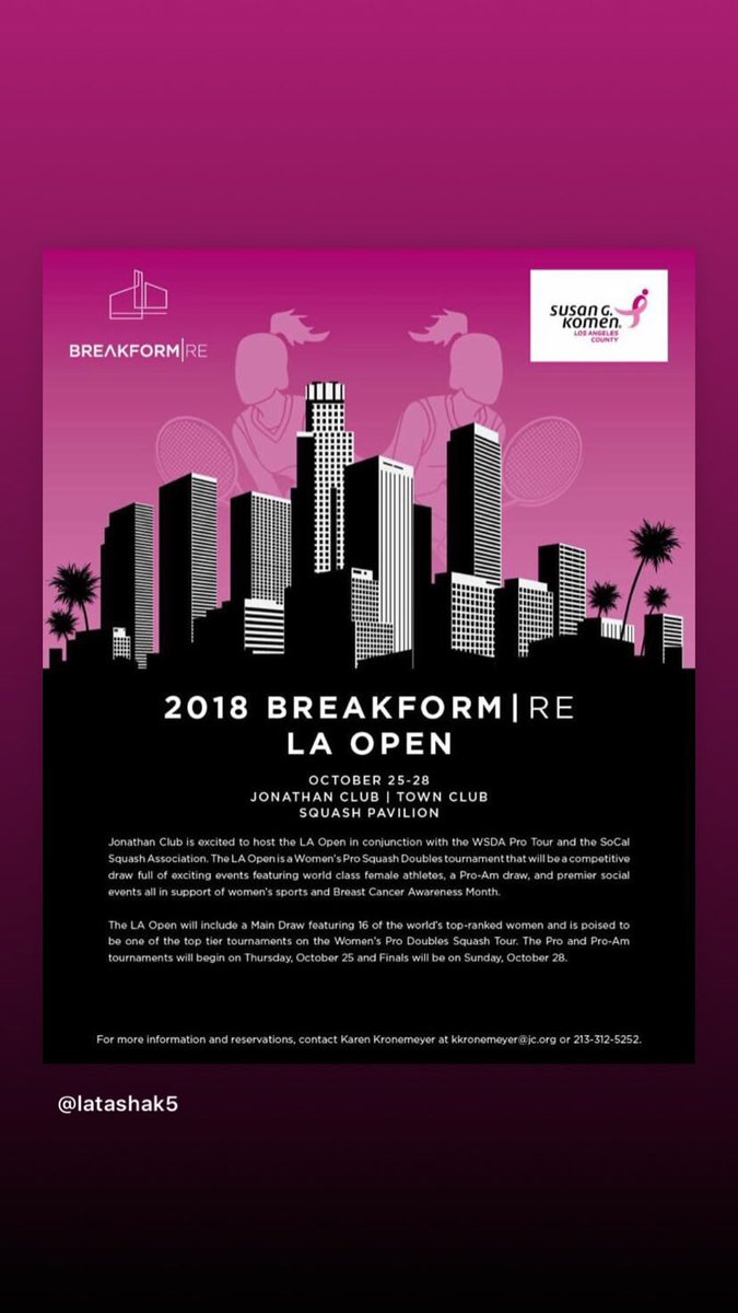 test Twitter Media - LA Open @WSDAprotour event is back this October!!! 🙌🏾🙌🏾🙌🏾 For all you ladies who want to have a good time in an awesome city & play a bit of hardball doubles, then this is the tournament to be at! Could not be more excited that it's back on the calendar! #Yassss https://t.co/XrJ3cBqQcz