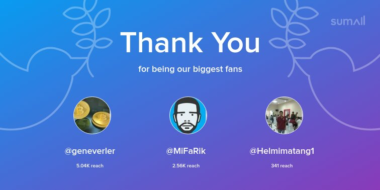 Our biggest fans this week: @geneverler, @MiFaRik, @Helmimatang1. Thank you! via https://t.co/XYrVWdXplS https://t.co/xn5b6zT7Dn