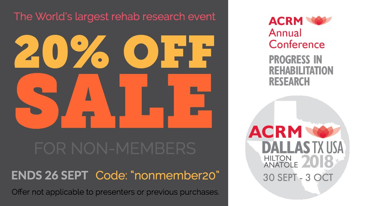 "test Twitter Media - Not sure what to do next weekend?  Join us in Dallas for #ACRM2018  20% OFF now on registration  Use code ""nonmember20"" https://t.co/pRapaWbzR3    #RehabResearch #Physiatry #TBI #SCI #CancerRehab    Get the app & see the online program: https://t.co/zdJ8x6Ayri https://t.co/ZCK3GRbqTM"