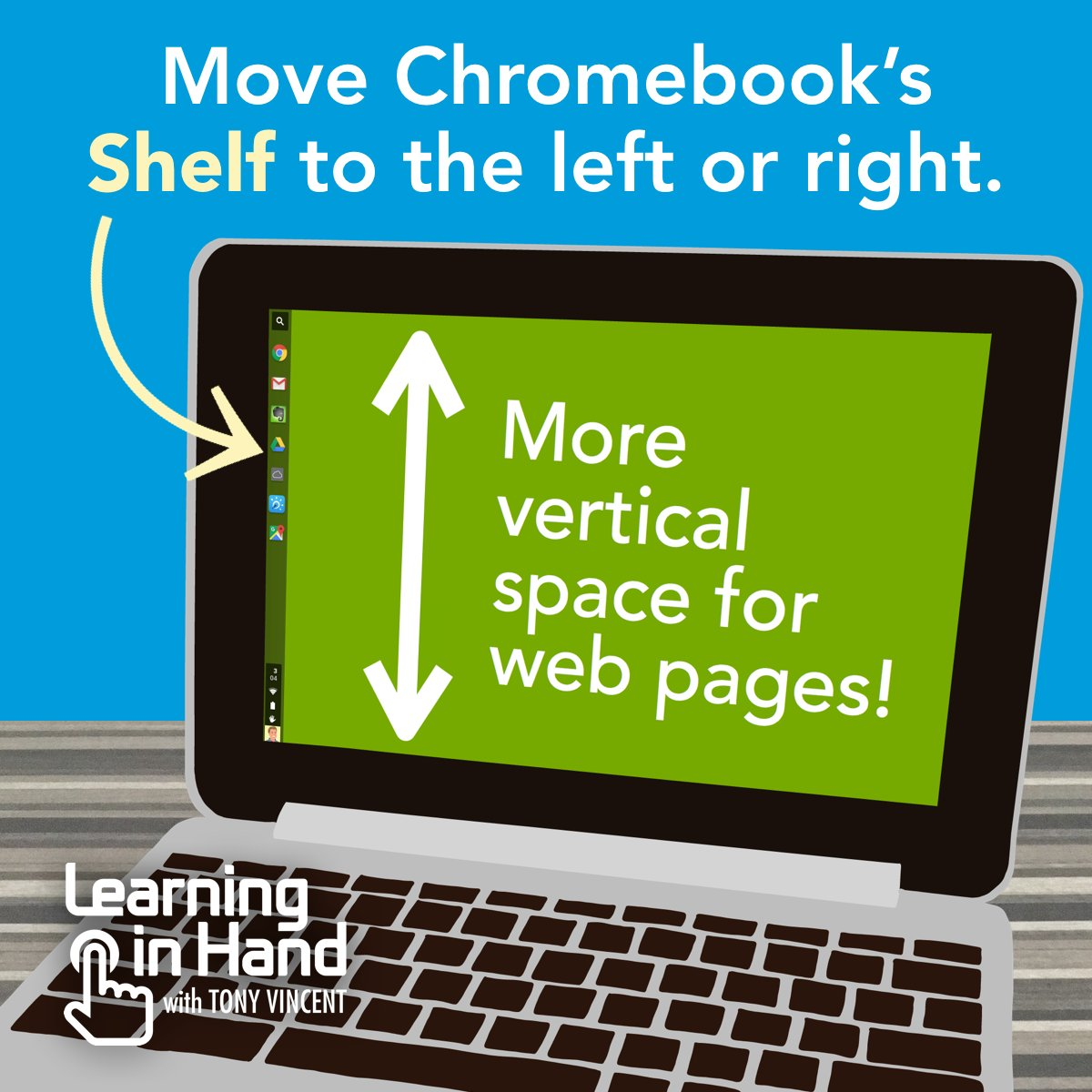 ↕️ I prefer to move my Chromebook's Shelf to the left. I like having more vertical space for web pages. https://t.co/NqSBHBxE50