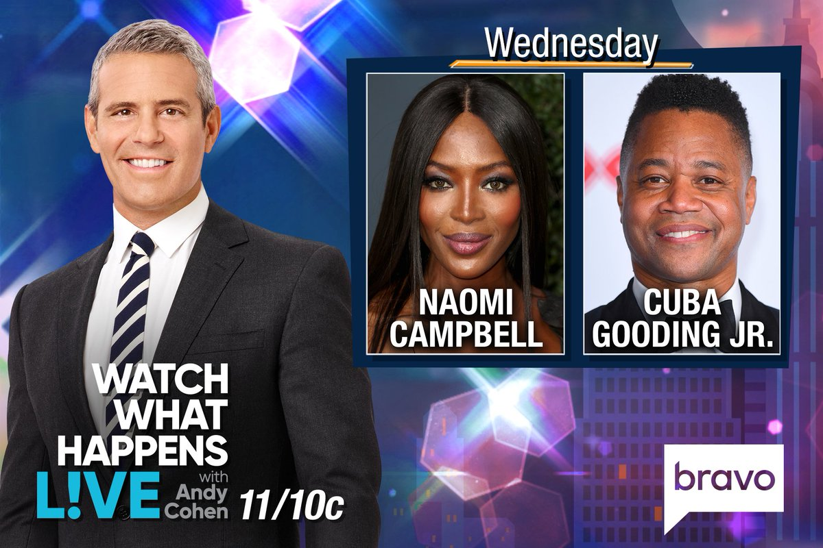 RT @BravoWWHL: TONIGHT at 11/10c we're LIVE w/ @NaomiCampbell & @cubagoodingjr! Start tweeting @Andy your questions! https://t.co/hwHg2ujdf0