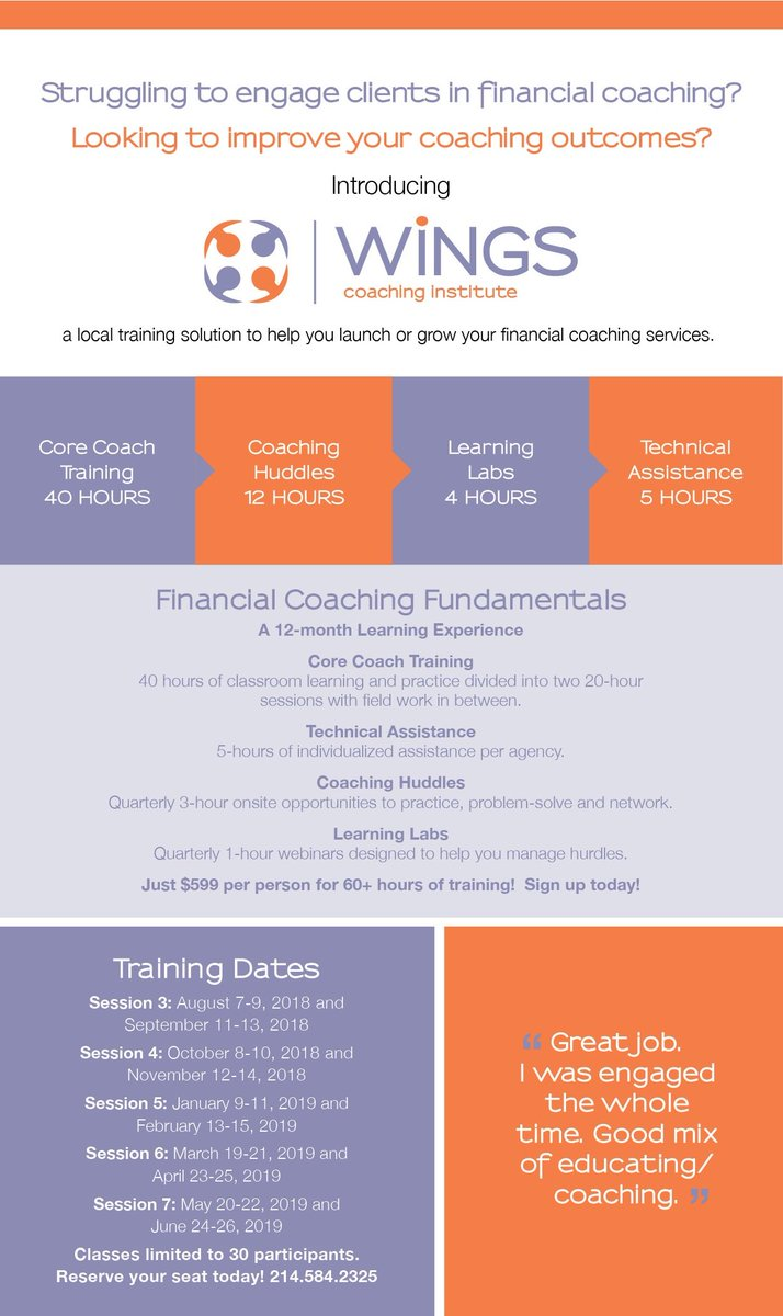 test Twitter Media - Are you looking to grow or launch your financial coaching services? WiNGS Coaching Instutute can help -- our next session starts October 8th. Register today at https://t.co/ImPCDrmmi8 or contact Lcontreras@wingsdallas.org. https://t.co/CJKtfAp6er