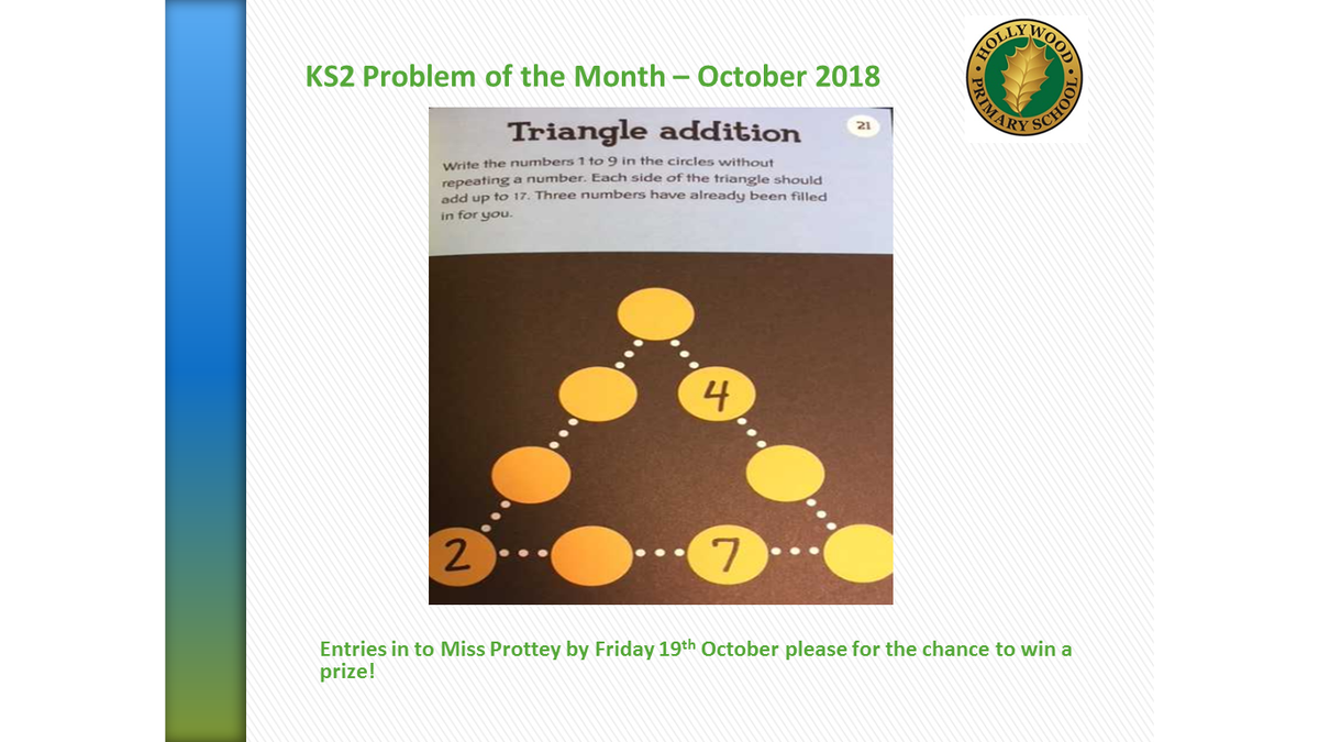 test Twitter Media - Well done to the 58 correct (and named!) entries for September's Problem of the Month! The winners will be announced in assembly next week. Here's October's KS1 and KS2 challenge for you to try - good luck! https://t.co/IqReSPjpUJ