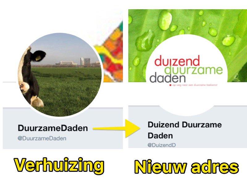 test Twitter Media - Ons Twitteraccount @DuurzameDaden verhuist per 1 oktober naar @DuizendD  Verhuis met ons mee als je ons wilt blijven volgen. En natuurlijk........Aan al onze volgers reuze bedankt🌟🌟🌟🌟🌟 https://t.co/iw7uKddM9f
