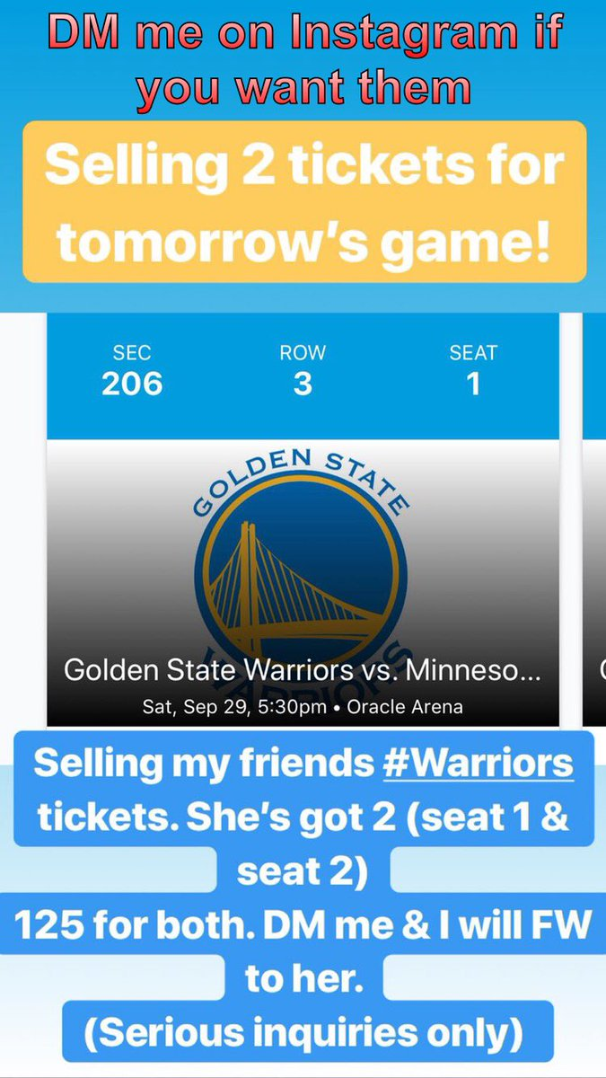 Selling two tickets for tomorrow's Warriors game DM me on Instagram if you want them XvPtR8zQu4
