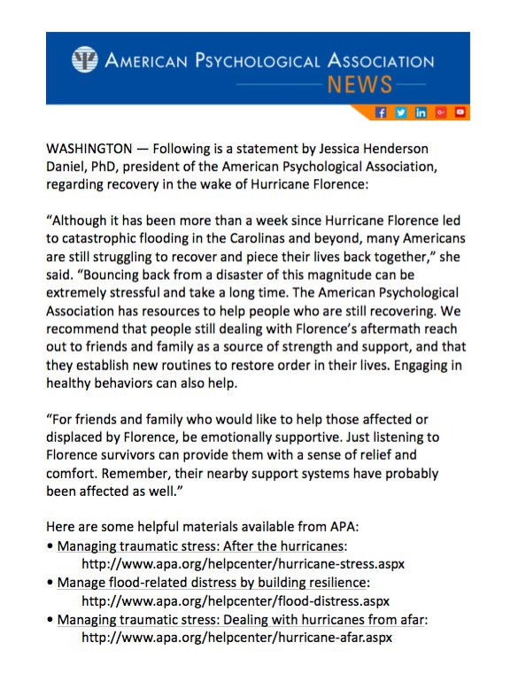 test Twitter Media - Statement of APA President on Recovery in Wake of Hurricane Florence, Subsequent Flooding https://t.co/wHqhCJ8cbB