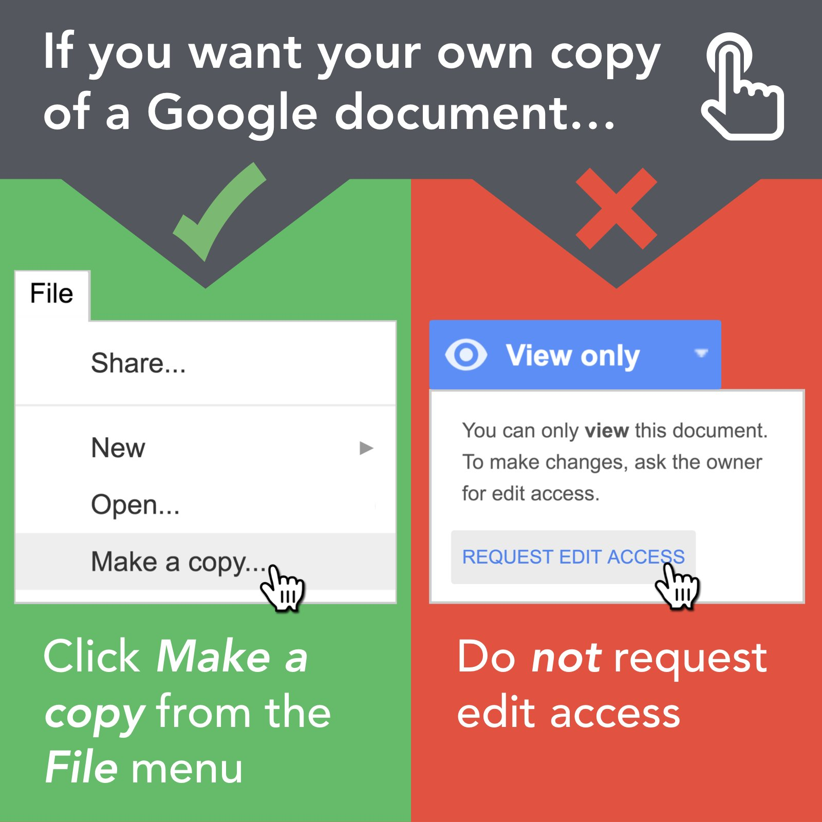 """✅ If you encounter a document shared online as View Only, you can get a copy of the document by clicking """"Make a copy"""" from the File menu. https://t.co/MabTKrSWO4"""