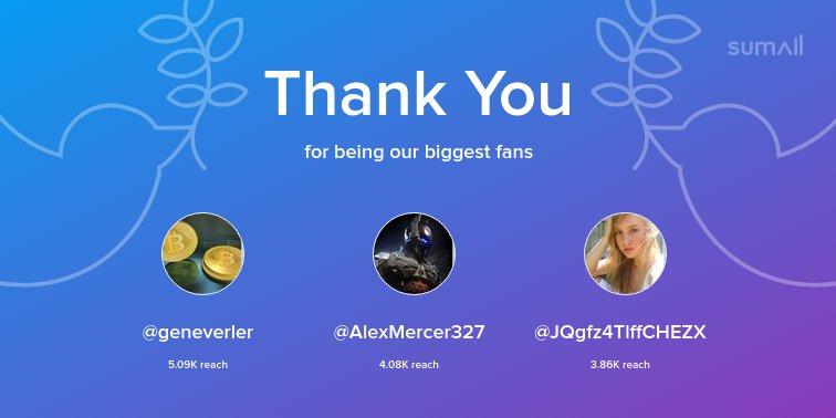 Our biggest fans this week: @geneverler, @AlexMercer327, @JQgfz4TlffCHEZX. Thank you! via https://t.co/XYrVWdXplS https://t.co/l6v9737ZLo