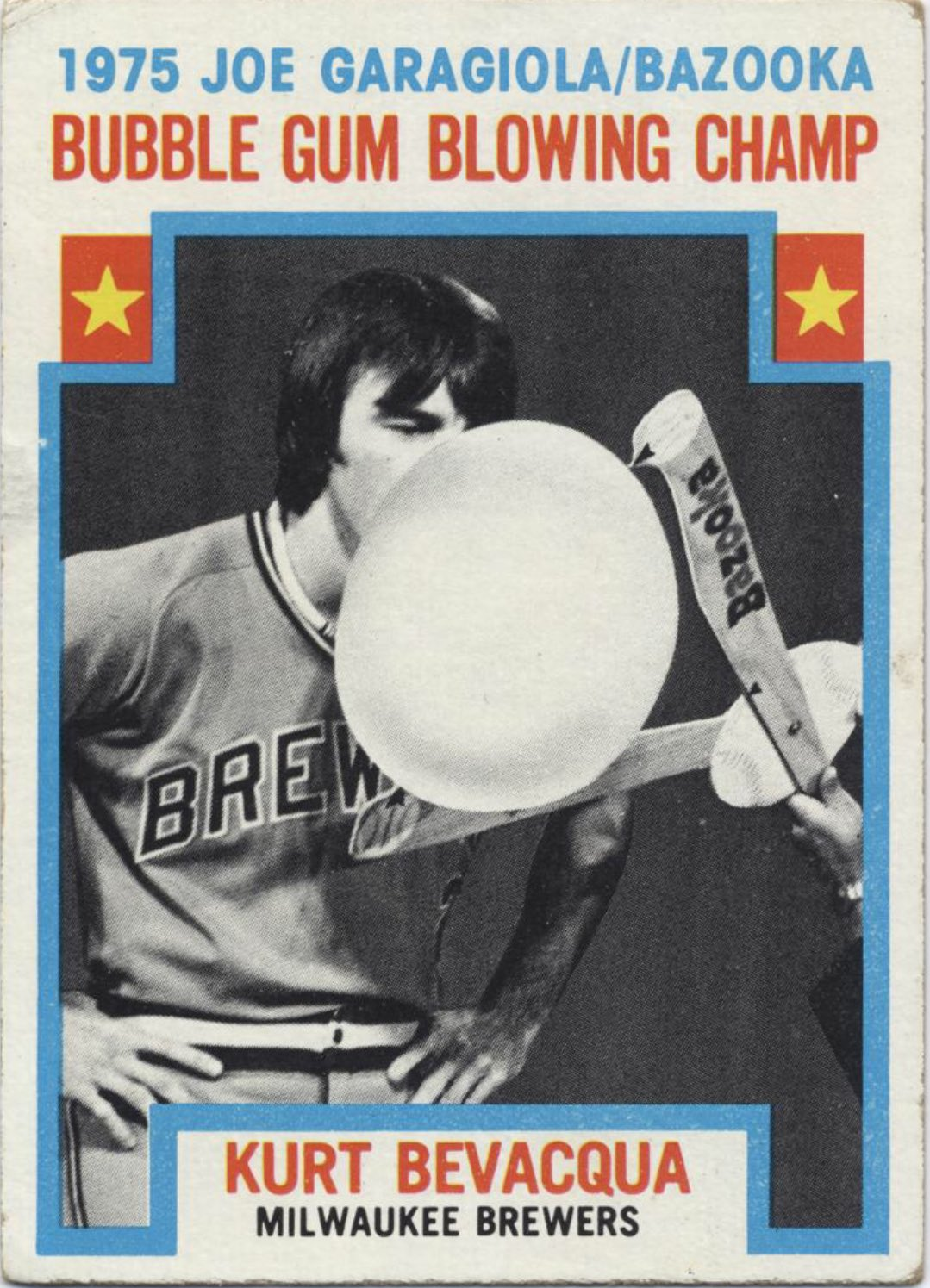 The only card that matters on #NationalChewingGumDay. Better yet, I've got the inside story on this magic moment when Kurt Bevacqua joins me on the next episode of the Super 70s Sports Podcast! https://t.co/Z2V015Uiyg
