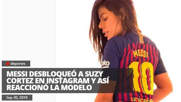 RT @vitotvo: Messi desbloqueó a Suzy Cortez en Instagram y así reaccionó la modelo INFORME: https://t.co/kEtOf5RslB https://t.co/Hzj9Psxiym