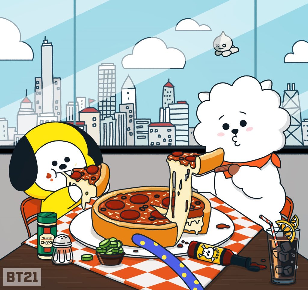 RT @BT21_: Rollin in the deep dish🍕  #Windycity #Chicago #Pizza #CHIMMY #RJ #VAN #TATA #BT21 https://t.co/iJrDle6NJY