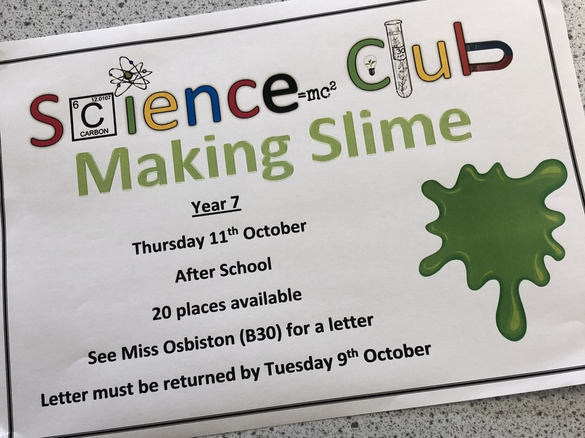 test Twitter Media - Science club is back on Thursday 11th October! If you would like to make slime collect a letter from Miss Osbiston in B30 #enrichment https://t.co/P0pEvFxqbP