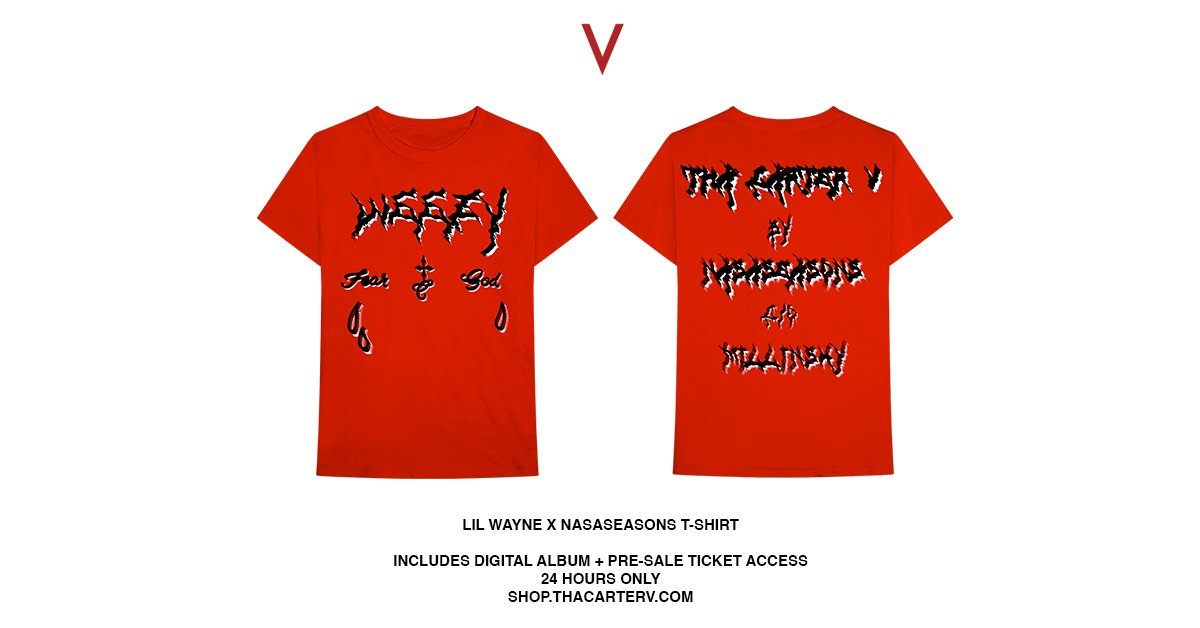 #ThaCarterV x NASASEASONS t-shirt available for only 24 hours on https://t.co/H5JxC3vgQg https://t.co/RAbrexQsdU