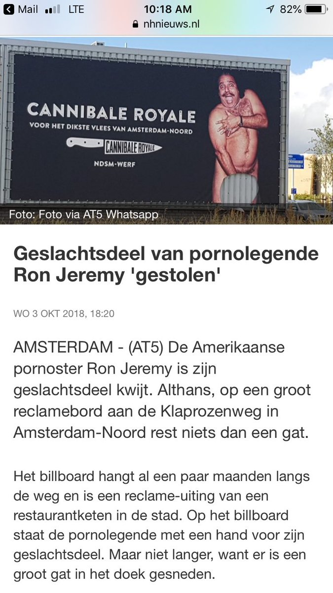 A friend sent this. Apparently you're on a Dutch billboard and someone stole your dick